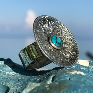 Zilveren BOHO ring Happy Sun Turquoise