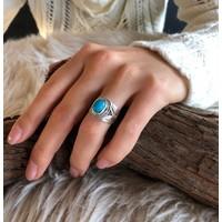 Zilveren ring Turquoise natuursteen
