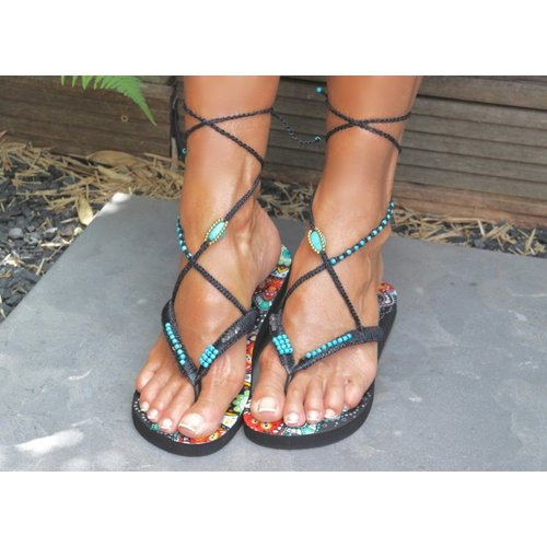 Bohemian Flip Flops 7 (zwart/turquoise)