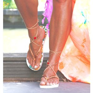 Bohemian Flip Flops 8 (wit/oranje)