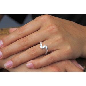 Zilveren ring Wave met Zirkonia