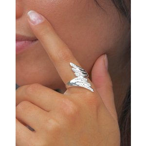 Zilveren ring Double Wing zirkonia