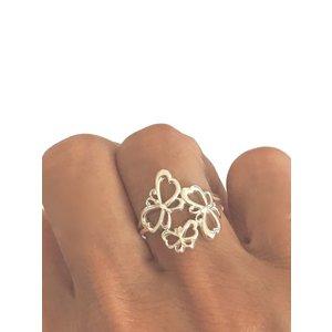 Zilveren ring Three Butterflies