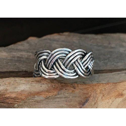 Zilveren ring Braided