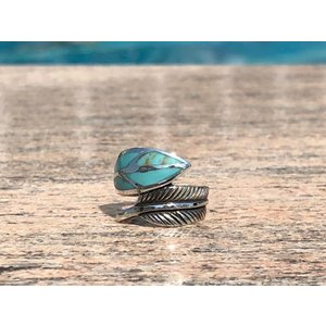 Zilveren Feather ring Turquoise ocean