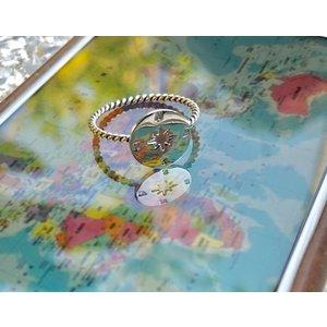 Zilveren ring Kompas