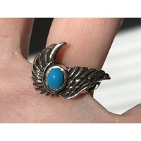 Zilveren Angelwings ring turquoise