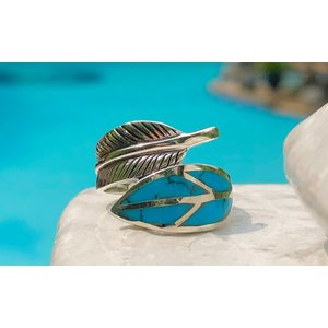Zilveren feather ring Turquoise blue