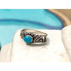 Zilveren ring Bali style turquoise
