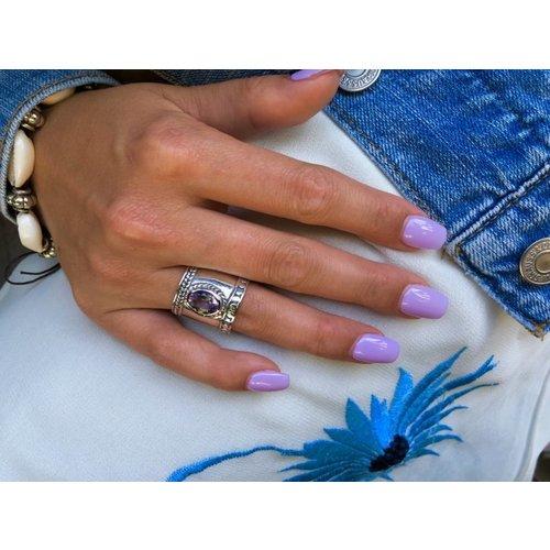 Zilveren Bali Style BOHO ring Amethist