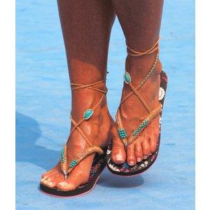 Bohemian Flip Flops turquoise