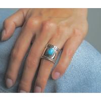 Zilveren Bali style BOHO ring Turquoise