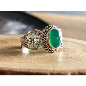 Zilveren ring Green Onyx