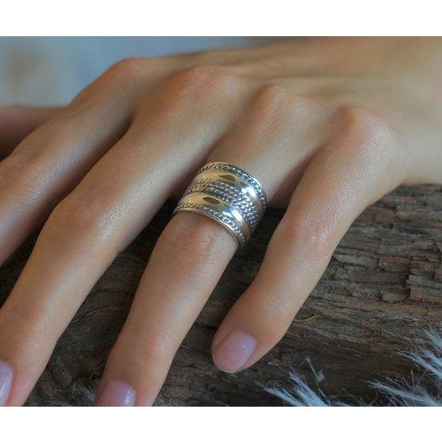 Bali style Boho zilveren ring Java