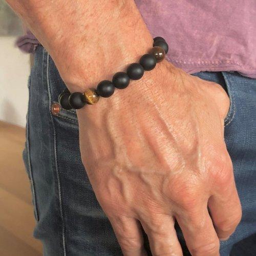 Kralen armband Matte Onyx en tigereye