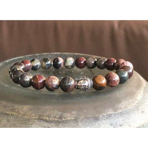 Kralen armband Jasper natuursteen met zilveren Buddha