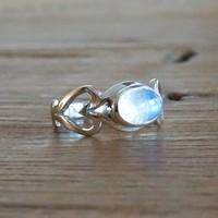 Zilveren ring Moonstone LOVE