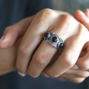 Zilveren ring Black Onyx 'Jaipur'