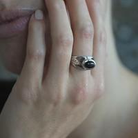 Zilveren ring Leaf Black Onyx