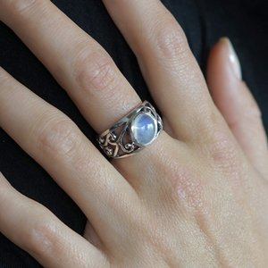 Zilveren ring Curl Moonstone