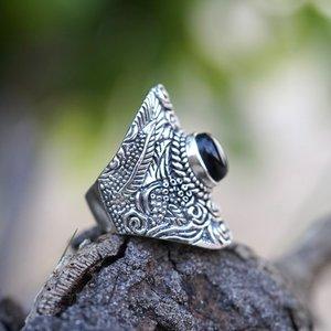 Zilveren ring Bohemian Black Onyx