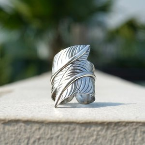 Zilveren BOHO ring Leaf