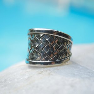 Zilveren BOHO ring Braided