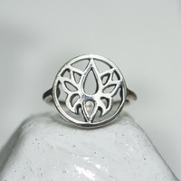Zilveren BOHO ring Lotus