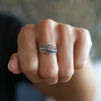 Zilveren BOHO ring Feather