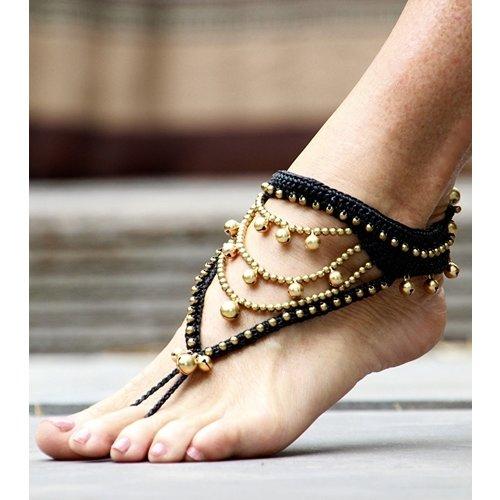 Bohemian barefoot sandals zwart