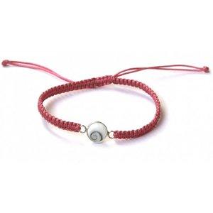 Zilveren Shiva shell bedel armbandje roze
