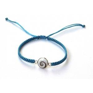 Zilveren Shiva shell bedel armbandje blauw