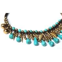 Enkelbandje turquoise Feathers