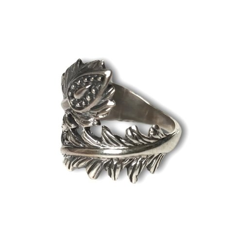 Zilveren ring Lotus feather