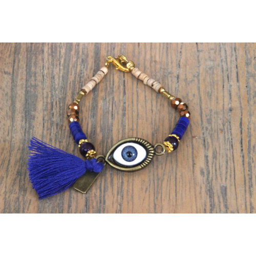 Bedel armbandje Evil Eye blauw