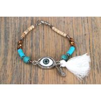 Bedel armbandje Evil Eye turquoise