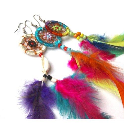 Feather oorbellen multi color