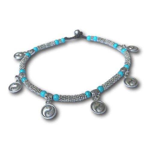 Enkelbandje Yin Yang Turquoise