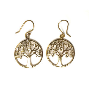 Tree of life BRASS oorbellen goudkleurig