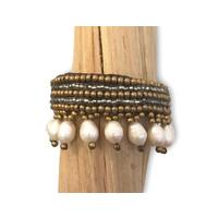 Armband Hippy de Colores Perlas wit