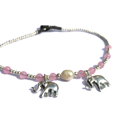 Enkelbandje zoetwaterparel olifant roze