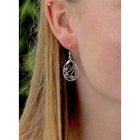 Zilveren Bali Style oorbellen Black onyx