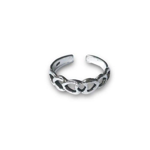Teenring / vingertop ring DOUBLE HEART