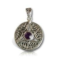 Zilveren amethist pendant