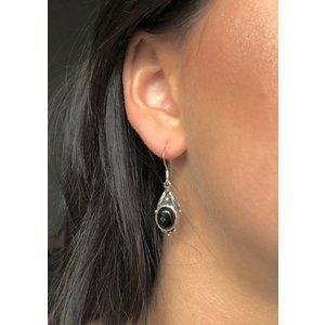 Zilveren oorhangers Black Onyx