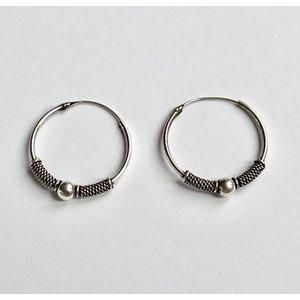 Bali hoops 19 mm zilver