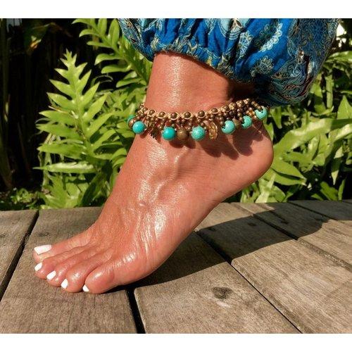 Bohemian enkelbandje turquoise