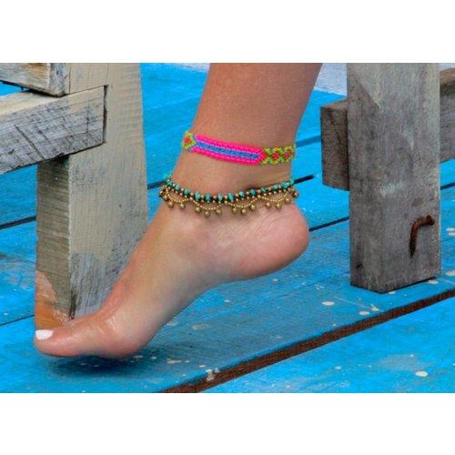 Ibiza BOHO enkelbandje turquoise