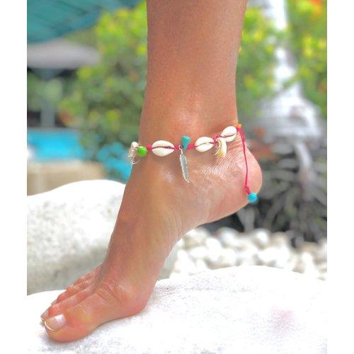 Ibiza style schelpjes enkelbandje