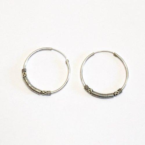 Bali hoops 27 mm zilver